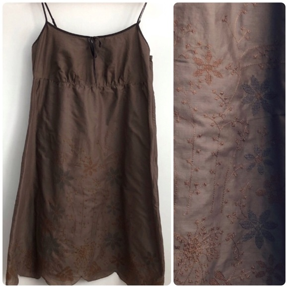 ESPRIT Cotton Spaghetti Summer Dress Brown